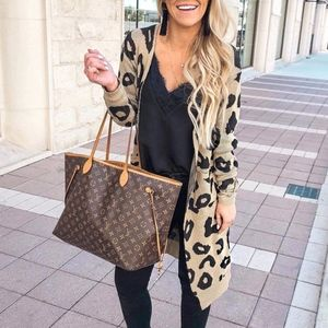 Sweaters - leopard print knitted long cardigan